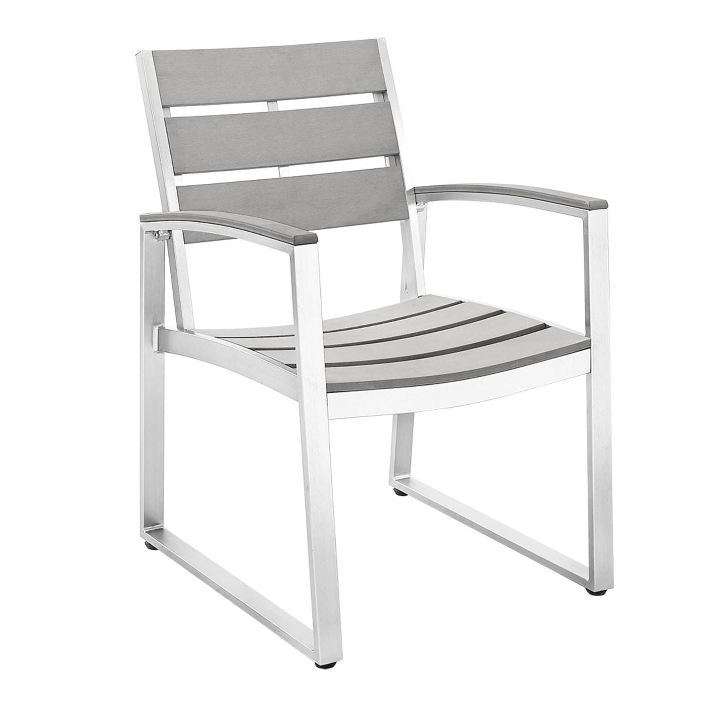 Walker Edison All Weather Grey Patio Dining Chairs Set of 2