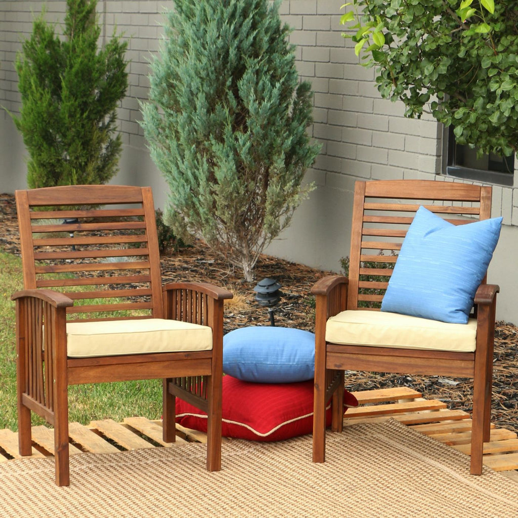 Dark Brown Acacia Patio Chairs With Cushions (Set Of 2) Outdoor Dining Chair