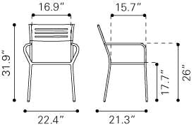 Wald Dining Arm Chair White Electro & Powder Coated Metal (Set Of 2) Outdoor