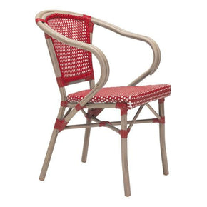 Paris Dining Arm Chair Red&white (Set Of 2) Outdoor