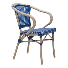 Paris Dining Arm Chair Navy Blue&white (Set Of 2) Outdoor