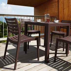 Ares Resin Square Dining Set With 4 Chairs Brown Outdoor