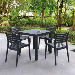 Ares Resin Square Dining Set With 4 Chairs Dark Gray Outdoor