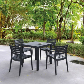 Outdoor Dining Sets - Compamia ISP1642S-DGR Artemis Resin Square Dining Set with 4 arm chairs Dark Gray | 019962010828 | Only $678.99. Buy today at http://www.contemporaryfurniturewarehouse.com