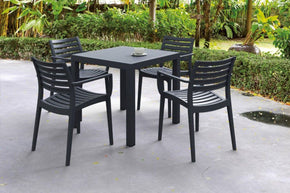 Artemis Resin Square Dining Set With 4 Arm Chairs Dove Gray Outdoor