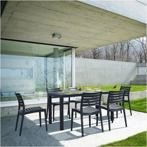 Ares Resin Rectangle Dining Set With 6 Chairs Dove Gray Outdoor