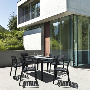 Artemis Resin Rectangle Dining Set With 6 Arm Chairs Dark Gray Outdoor