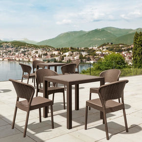Daytona Wickerlook Square Dining Set 5 Piece Brown With Side Chairs Outdoor