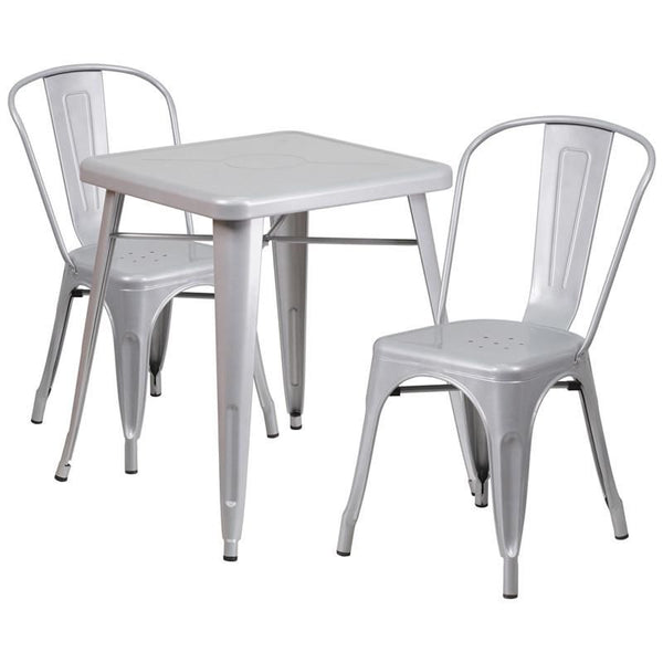 Outdoor Dining Sets - Flash Furniture CH-31330-2-30-SIL-GG 23.75'' Square Metal Indoor-Outdoor Table Set with 2 Stack Chairs | 889142024750 | Only $219.80. Buy today at http://www.contemporaryfurniturewarehouse.com