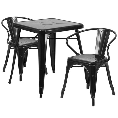 23.75'' Square Metal Indoor-Outdoor Table Set With 2 Arm Chairs Black Outdoor Dining