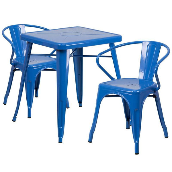 23.75'' Square Metal Indoor-Outdoor Table Set With 2 Arm Chairs Blue Outdoor Dining