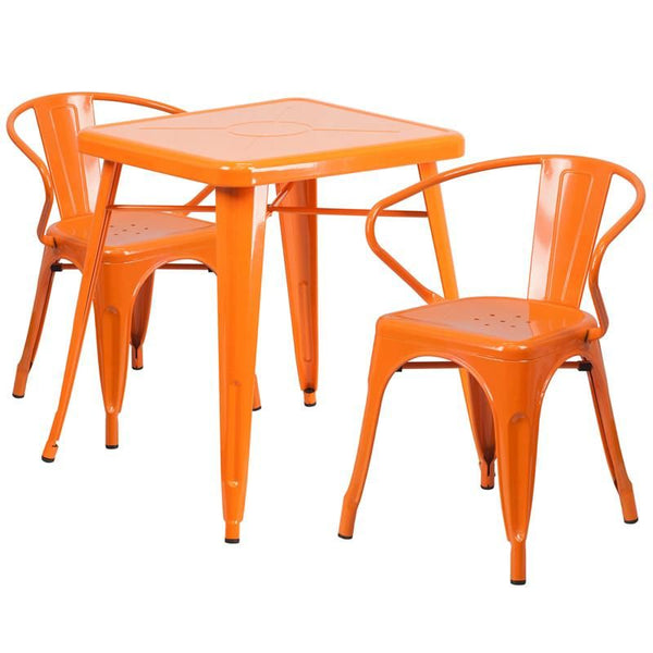 23.75'' Square Metal Indoor-Outdoor Table Set With 2 Arm Chairs Orange Outdoor Dining