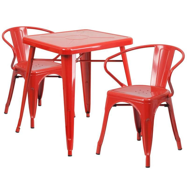 23.75'' Square Metal Indoor-Outdoor Table Set With 2 Arm Chairs Red Outdoor Dining