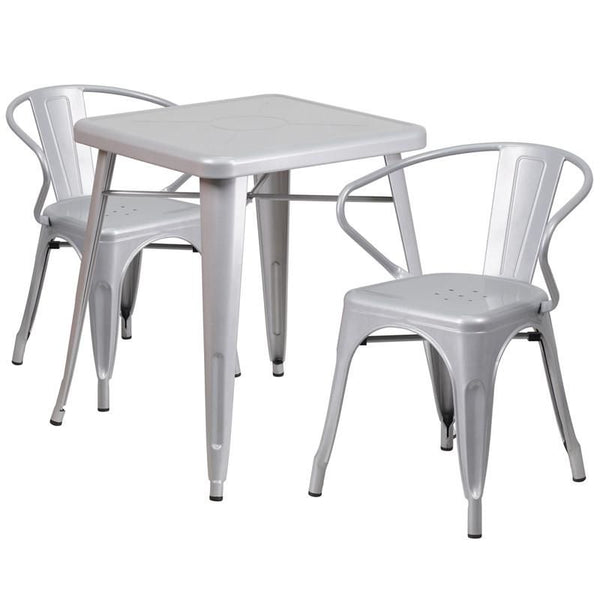 23.75'' Square Metal Indoor-Outdoor Table Set With 2 Arm Chairs Silver Outdoor Dining