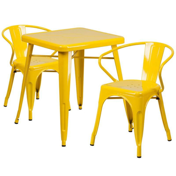 23.75'' Square Metal Indoor-Outdoor Table Set With 2 Arm Chairs Yellow Outdoor Dining