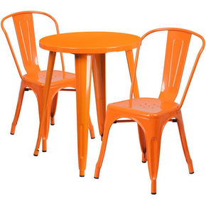 24u0027u0027 Round Metal Indoor Outdoor Table Set With 2 Cafe Chairs Orange Outdoor