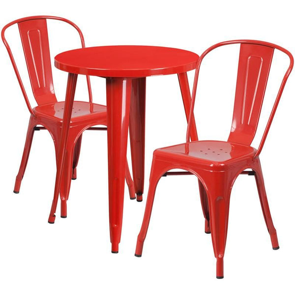 Outdoor Dining Sets - Flash Furniture CH-51080TH-2-18CAFE-RED-GG 24'' Round Metal Indoor-Outdoor Table Set with 2 Cafe Chairs | 889142081760 | Only $209.80. Buy today at http://www.contemporaryfurniturewarehouse.com