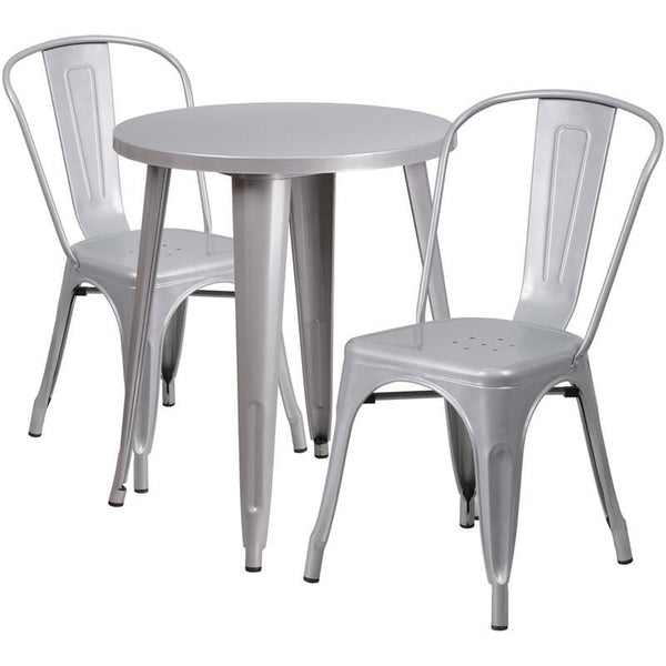 Outdoor Dining Sets - Flash Furniture CH-51080TH-2-18CAFE-SIL-GG 24'' Round Metal Indoor-Outdoor Table Set with 2 Cafe Chairs | 889142081753 | Only $209.80. Buy today at http://www.contemporaryfurniturewarehouse.com