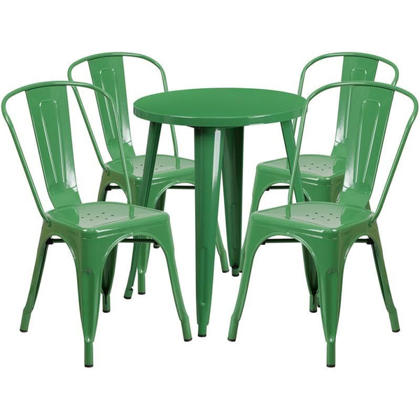 Outdoor Dining Sets - Flash Furniture CH-51080TH-4-18CAFE-GN-GG 24'' Round Metal Indoor-Outdoor Table Set with 4 Cafe Chairs | 889142081876 | Only $304.80. Buy today at http://www.contemporaryfurniturewarehouse.com