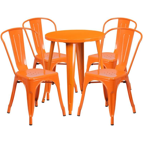 Outdoor Dining Sets - Flash Furniture CH-51080TH-4-18CAFE-OR-GG 24'' Round Metal Indoor-Outdoor Table Set with 4 Cafe Chairs | 889142081838 | Only $304.80. Buy today at http://www.contemporaryfurniturewarehouse.com
