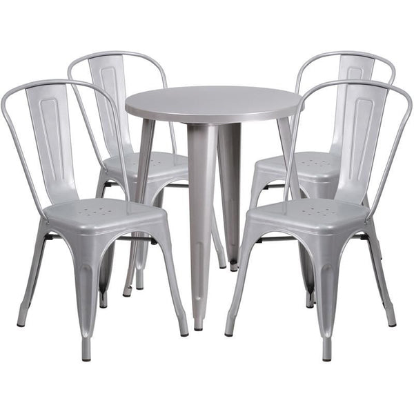 Flash Furniture CHTHCAFEBLGG Round Metal Indoor - Round metal cafe table