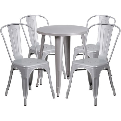 Outdoor Dining Sets - Flash Furniture CH-51080TH-4-18CAFE-SIL-GG 24'' Round Metal Indoor-Outdoor Table Set with 4 Cafe Chairs | 889142081845 | Only $304.80. Buy today at http://www.contemporaryfurniturewarehouse.com