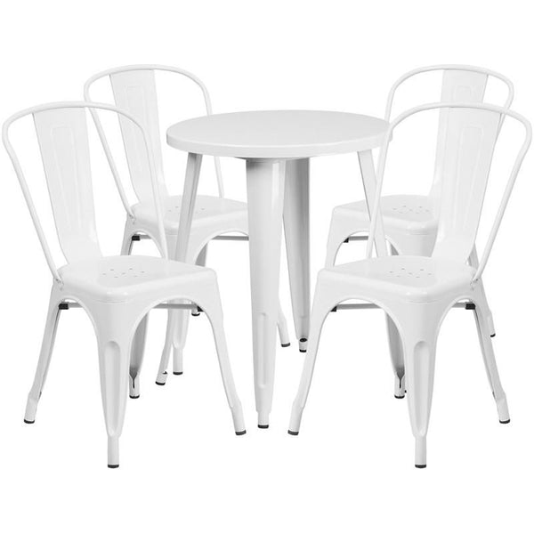 Outdoor Dining Sets - Flash Furniture CH-51080TH-4-18CAFE-WH-GG 24'' Round Metal Indoor-Outdoor Table Set with 4 Cafe Chairs | 889142081821 | Only $304.80. Buy today at http://www.contemporaryfurniturewarehouse.com