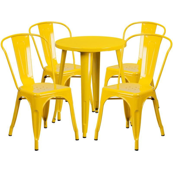 Outdoor Dining Sets - Flash Furniture CH-51080TH-4-18CAFE-YL-GG 24'' Round Metal Indoor-Outdoor Table Set with 4 Cafe Chairs | 889142081883 | Only $304.80. Buy today at http://www.contemporaryfurniturewarehouse.com