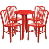 24'' Round Metal Indoor-Outdoor Table Set With 4 Vertical Slat Back Chairs Red Outdoor Dining