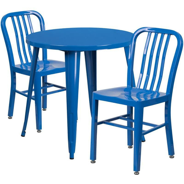30'' Round Metal Indoor-Outdoor Table Set With 2 Vertical Slat Back Chairs Blue Outdoor Dining