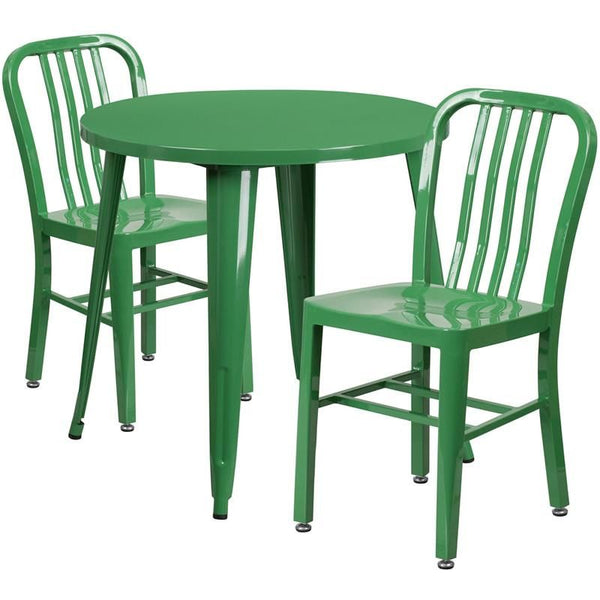 30'' Round Metal Indoor-Outdoor Table Set With 2 Vertical Slat Back Chairs Green Outdoor Dining