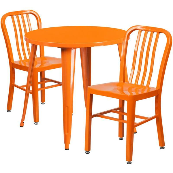30'' Round Metal Indoor-Outdoor Table Set With 2 Vertical Slat Back Chairs Orange Outdoor Dining
