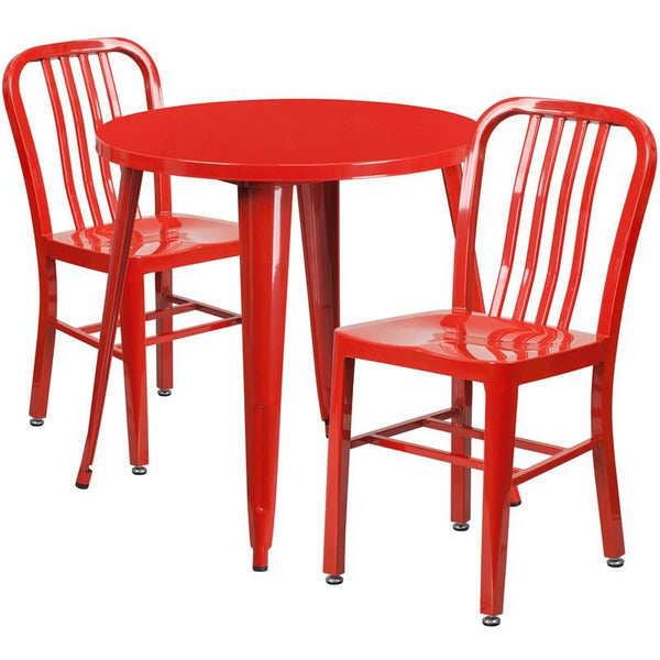 30'' Round Metal Indoor-Outdoor Table Set With 2 Vertical Slat Back Chairs Red Outdoor Dining
