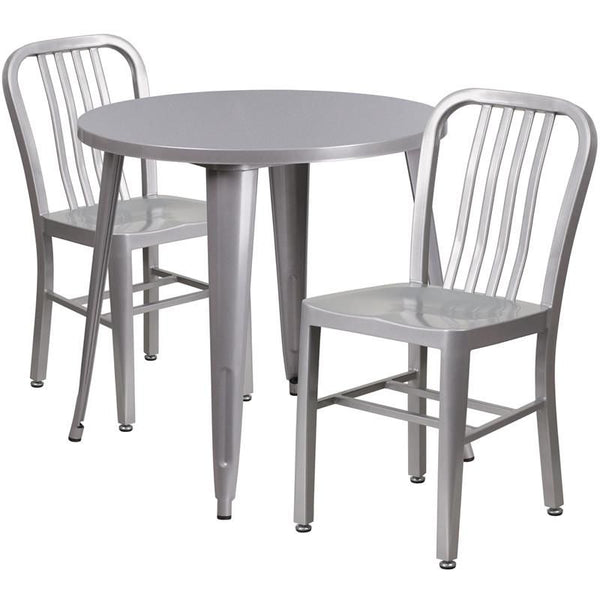 30'' Round Metal Indoor-Outdoor Table Set With 2 Vertical Slat Back Chairs Silver Outdoor Dining