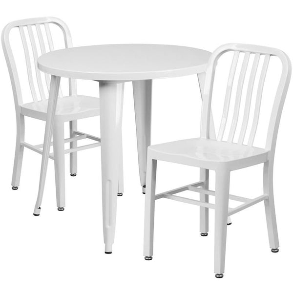 30'' Round Metal Indoor-Outdoor Table Set With 2 Vertical Slat Back Chairs White Outdoor Dining