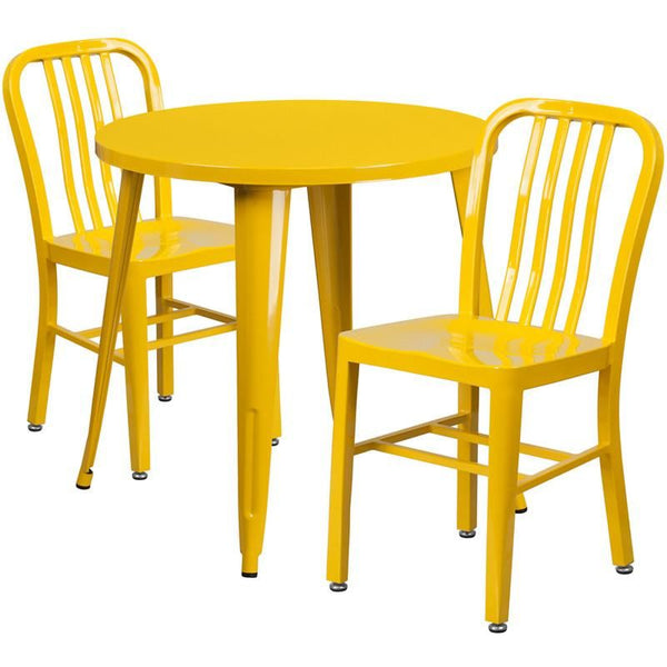 30'' Round Metal Indoor-Outdoor Table Set With 2 Vertical Slat Back Chairs Yellow Outdoor Dining