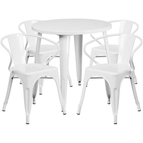 Outdoor Dining Sets - Flash Furniture CH-51090TH-4-18ARM-WH-GG 30'' Round Metal Indoor-Outdoor Table Set with 4 Arm Chairs | 889142082729 | Only $339.80. Buy today at http://www.contemporaryfurniturewarehouse.com