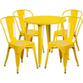 30'' Round Metal Indoor-Outdoor Table Set With 4 Cafe Chairs Yellow Outdoor Dining