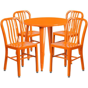 30'' Round Metal Indoor-Outdoor Table Set With 4 Vertical Slat Back Chairs Orange Outdoor Dining