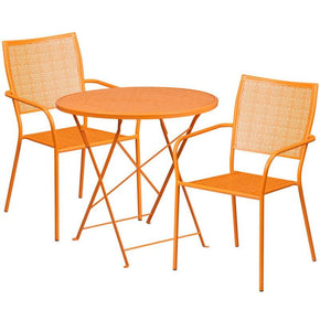 30'' Round Indoor-Outdoor Steel Folding Patio Table Set With 2 Square Back Chairs Orange Outdoor Dining