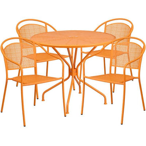 35.25'' Round Indoor-Outdoor Steel Patio Table Set With 4 Back Chairs Orange Outdoor Dining