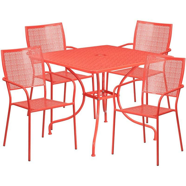 35.5u0027u0027 Square Indoor Outdoor Steel Patio Table Set With 4 Back Chairs Coral