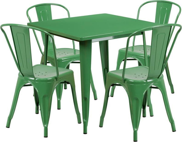 Flash Furniture 31.5'' Square Metal Indoor-Outdoor Table Set with 4 Stack Chairs (12 color options) ET-CT002-4-30-GN-GG | 889142049159| $319.80. Outdoor Dining Sets - . Buy today at http://www.contemporaryfurniturewarehouse.com
