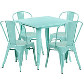 31.5'' Square Metal Indoor-Outdoor Table Set With 4 Stack Chairs (12 Color Options) Mint Outdoor Dining