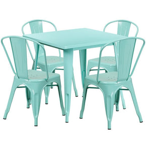 Outdoor Dining Sets - Flash Furniture ET-CT002-4-30-MINT-GG 31.5'' Square Metal Indoor-Outdoor Table Set with 4 Stack Chairs (12 color options) | 889142080923 | Only $354.80. Buy today at http://www.contemporaryfurniturewarehouse.com