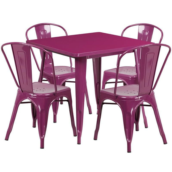 Flash Furniture 31.5'' Square Metal Indoor-Outdoor Table Set with 4 Stack Chairs (12 color options) ET-CT002-4-30-PUR-GG | 889142080947| $319.80. Outdoor Dining Sets - . Buy today at http://www.contemporaryfurniturewarehouse.com