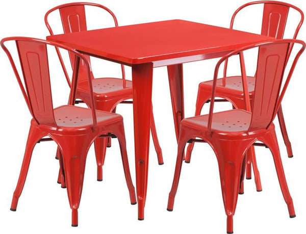 Flash Furniture 31.5'' Square Metal Indoor-Outdoor Table Set with 4 Stack Chairs (12 color options) ET-CT002-4-30-RED-GG | 889142049173| $319.80. Outdoor Dining Sets - . Buy today at http://www.contemporaryfurniturewarehouse.com