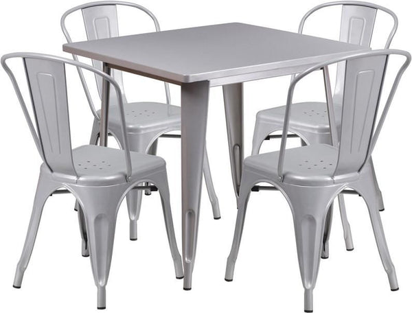 Flash Furniture 31.5'' Square Metal Indoor-Outdoor Table Set with 4 Stack Chairs (12 color options) ET-CT002-4-30-SIL-GG | 889142049180| $319.80. Outdoor Dining Sets - . Buy today at http://www.contemporaryfurniturewarehouse.com