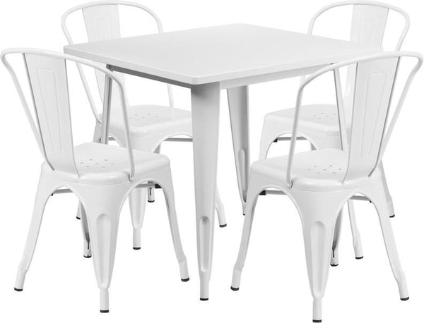 Flash Furniture 31.5'' Square Metal Indoor-Outdoor Table Set with 4 Stack Chairs (12 color options) ET-CT002-4-30-WH-GG | 889142049197| $319.80. Outdoor Dining Sets - . Buy today at http://www.contemporaryfurniturewarehouse.com