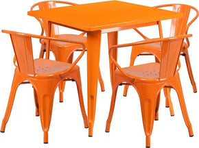 315 Square Metal Indoor Outdoor Table Set With 4 Arm Chairs Orange